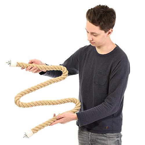 HappyBird ® | 160-175 cm beidseitig anschraubbare Sisalstange Seil für mittlere Papageien Sitzseil Graupapagei, Mohrenkopfpapagei
