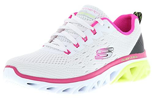 Skechers 149551/WPLM Glide-Step Sport-New Appeal Damen Sneaker Sportschuhe Turnschuhe weiß/pink/gelb, Größe:39, Farbe:Weiß