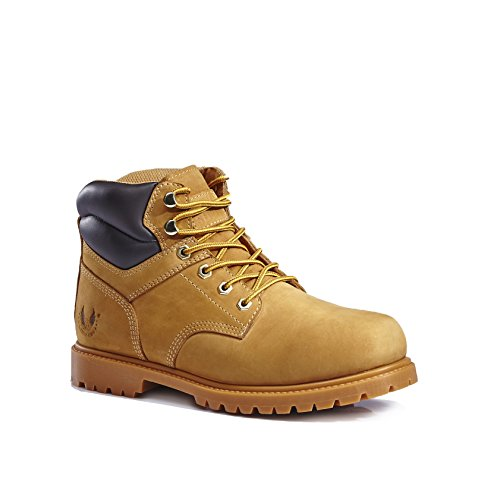 kingshow Men's 1366 Water Resistant Premium Work Boots (10 D(M) US Men's, Wheat 1366)