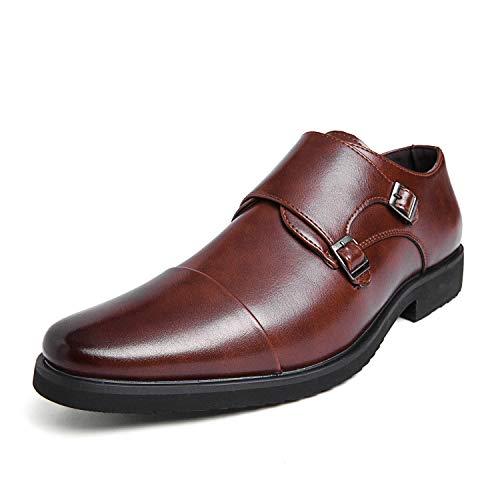 [DUKLUCAK] ビジネスシューズ メンズ 革靴 ウォーキング 防水高級レザー 黒 ブラック ブラウン 軽量 大きいサイズ 24cm~29㎝ 紳士靴 モンクストラップ 外羽根 防滑 防臭 防菌 通気 27.0 cm BROWN
