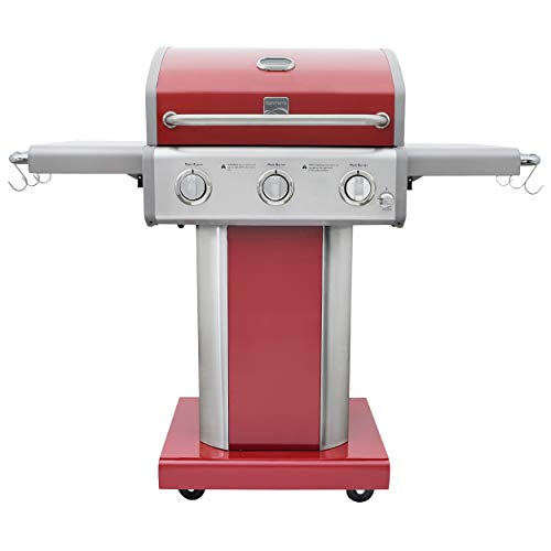 Kenmore PG-4030400LD-RD-AM 3 Burner Outdoor Patio Gas BBQ Propane Grill, Red
