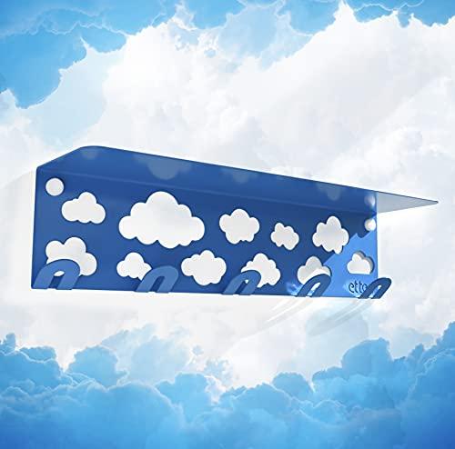 Perchero de pared infantil con estante flotante y fondo de nubes, 100% acero al carbono de alta resistencia (1)
