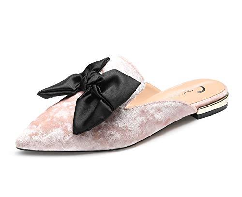 CASTAMERE Damen Hausschuhe Spitzen Blockabsatz Clogs Flache Pantoletten Low Heels Schuhe Samt Pink Pumps EU 45