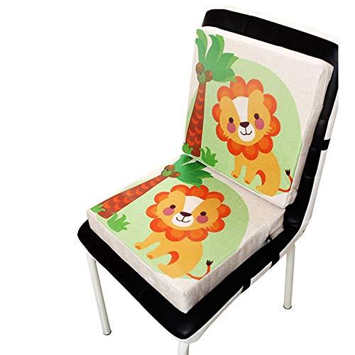 Wateralone Boostersitz Esszimmer Stuhl Sitzerhöhung Kinder Kindersitze, niedlichen Animal Print Flachs, demontierbar einstellbar, ideal als Hochstuhl für unterwegs für Babys & Kleinkinder (Löwe)