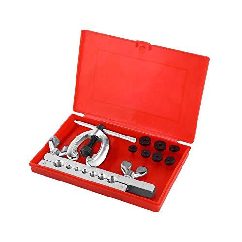 Kit di svasatura per tubi, 9 pezzi Kit di svasatura per tubi in acciaio Attrezzo per svasatura per riparazione tubi con divaricatore a morsetto Matrici a doppia svasatura e attrezzo manuale per valig