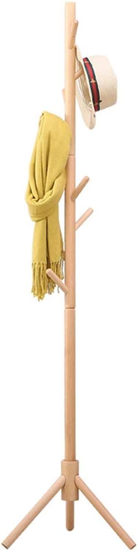 Angel's Home Coat Rack, Solid Wood Coat Rack Hanger Floor Bedroom Nordic Elm Wood Clothes Rack Wooden Hanger