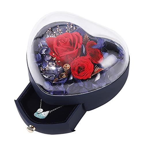 Recet Joyero con forma de corazón, con flores, con cajón, caja de regalo para el día de San Valentín