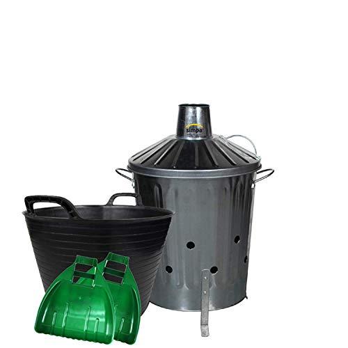 simpaoutdoor Galvanised Locking Lid Incinerator Bin 40 Litre, 42L Flexi Tub and Plastic Leaf Grabber Set.