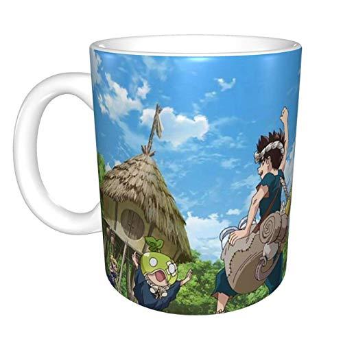 jianpanxia Dr Stone Anime Bhutan - Taza y taza de café de cerámica, para latte o cacao, capuchino, té caliente o bebidas heladas, color blanco