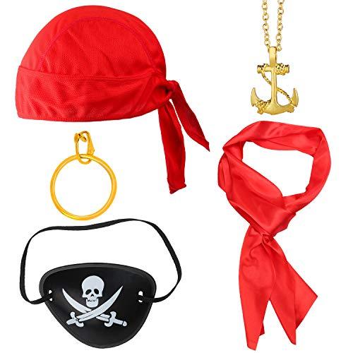 Haichen Accesorios para Disfraces de Piratas Sombrero de Pirata Rojo Renacimiento Pirata Faja Parche Pendiente Monedas Telescopio Pirata Capitán Dress Up Set para Halloween y Fiesta Pirata (Rojo1)