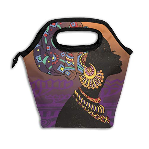 Insulated Lunch Bag Tote African Girl Lunch Box Funny Reusable Cooler Bag Tote Freezable Meal Prep Lunch Bag Small for Kids Girls Women Teen