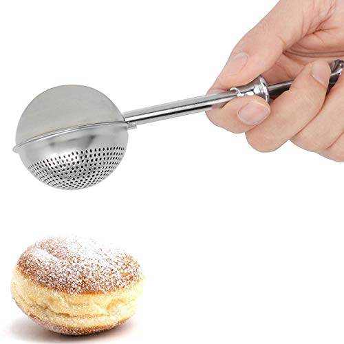 HULISEN Flour Duster for Baking, with Spring Handle, One-Handed Operation, 18/8 Stainless Steel Pick Up and Dust Flour Sifter, Dusting Wand for Sugar, Flour and Spices