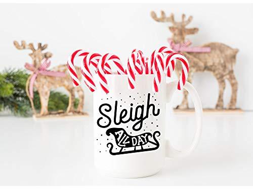 Taza divertida de Navidad con trineo para todo el día, regalo de Navidad, regalo de Navidad, matar todo el día, feliz día festivo, bonito regalo de Navidad, 325 ml