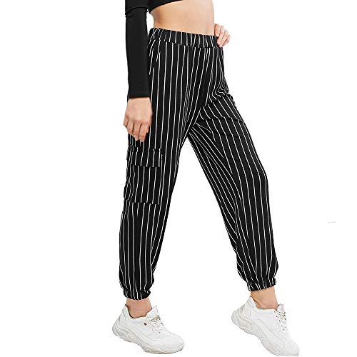 ZAFUL Women's Elastic Waist Pants Casual High Rise Plaid Striped Jogger Pants Striped-Black M