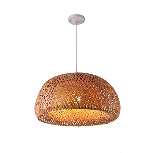 QTRT Tejido hecho a mano Luz de techo Lámpara de bambú rústica Lámpara de techo retro Habitación colgante E27 Pantalla de madera antigua Lámpara de iluminación Lámpara de mimbre de bambú Luces colgant