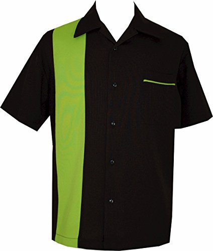 BeRetro Bowling Retro Camp Short-Sleeve Men's USA Made Shirt ~ LimeShock (4XL)