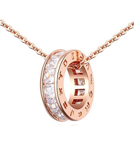 Cerchio Collana con Ciondolo con Bianco Cristalli austriaci di zirconi 18 kt Placcato Oro Rosa per Donne 45 cm