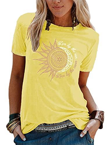 Abtel - Camiseta de verano para mujer con estampado de girasoles, manga corta, cuello redondo, básica, suelta, informal, 1 # amarillo., S