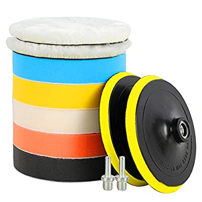 ORIENTOOLS 11Pcs 6inch Polishing Pad Kit, Sponge and Wool Buffing Pads Kit with M14 Drill Adapter for Car Care Polisher Boat Polisher