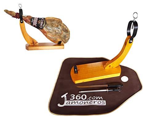 Dreamstone - Supporto per prosciutto modello Góndola in legno con spessore extra di 3 cm + coltello e chaira - Offerta con copriprosciutto in regalo (migliore scelta)