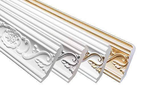 Marbet Deckenleiste B-26 weiß aus Styropor EPS - Stuckleisten gemustert, im traditionellen Design - (40 Meter Sparpaket) Styroporprofil Winkelprofil Wandprofil