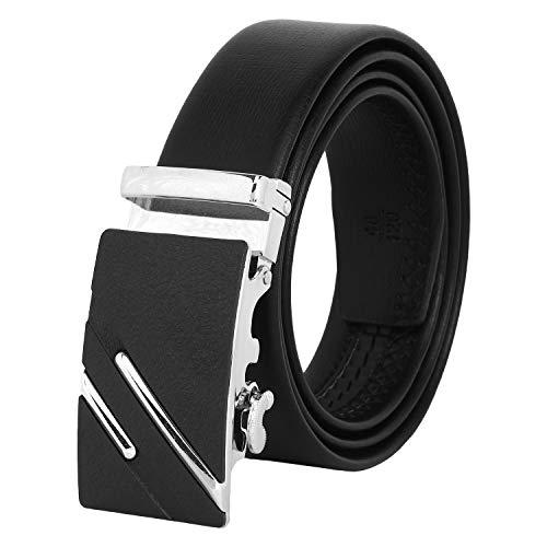 Zacharias Men's Faux Leather Belt with Autolock Buckle AB-02 (Black , Free Size)