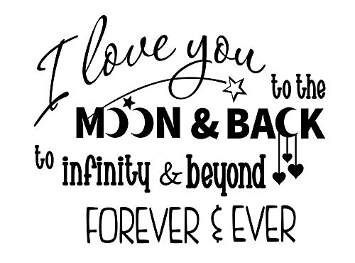 Imposing Design I Love You to The Moon and Back to Infinity and Beyond 23 X 18 Nursery Child Wall Art Sticker Corinthians Decal Decor Motivational Inspirational Sticker Lettering