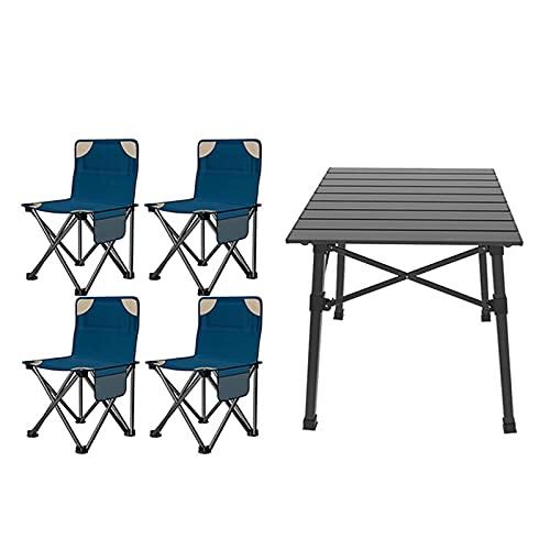 ZCZZ Sillas de Mesa para Acampar Juego de Mesa y Silla Plegable portátil, Mesa de Picnic de Aluminio para Patio al Aire Libre, Conveniente para Llevar y almacenar (Colort: Juego de 3 Piezas)