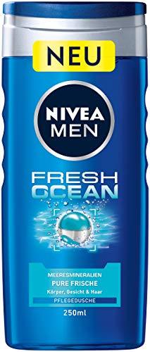 NIVEA MEN Fresh Ocean Pflegedusche (250 ml), vitalisierendes Duschgel mit Meeresmineralien, pH-hautfreundliche Dusche für Körper, Gesicht und Haar
