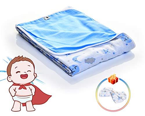 VEcome - Manta para bebé, 100% algodón, 100 x 120 cm, para niños y niñas, además de manta cambiadora de regalo, 60 x 60 cm, multifuncional, cómoda y segura, también para niños, color azul