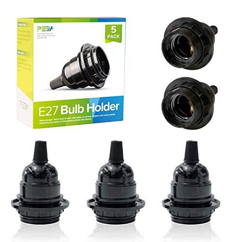 Lampenfassung E27, Bakelit Fassung E27, Schwarze Vintage Solid Lampenfassung, Edison Retro Glühbirnenfassung, Schraube Glühbirne Adapter, für DIY Hängelampen, Tischlampe, 5 Stücks, PEBA
