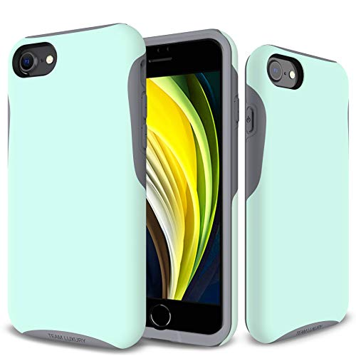 TEAM LUXURY iPhone SE 2020 Case & iPhone 7 Case & iPhone 8 Case, [Trinity Series] Shockproof, Anti-Drop Protection, Phone Case for Apple iPhone 7/8/SE 2nd Generation for Women & Men (Soft Mint/Gray)