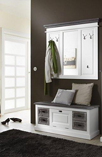 moebel-dich-auf.de BFK Möbel Collection Cabana Garderobe Garderobenset mit Spiegel und Sitzbank aus Massivholz und Metallhaken