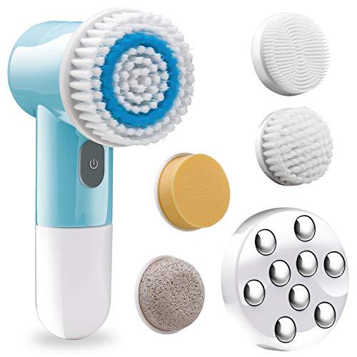 Stofau Spazzola elettrica per la pulizia del Viso anti età impermeabile esfoliante spa per la pulizia dedicata e massaggio facciale scrubbing testine intercambiabili