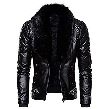 SPE969 Men s Zipper Removable Fur Collar Jacket,Leather Vintage Steam Pocket Punk Gothic Retro Coat Black