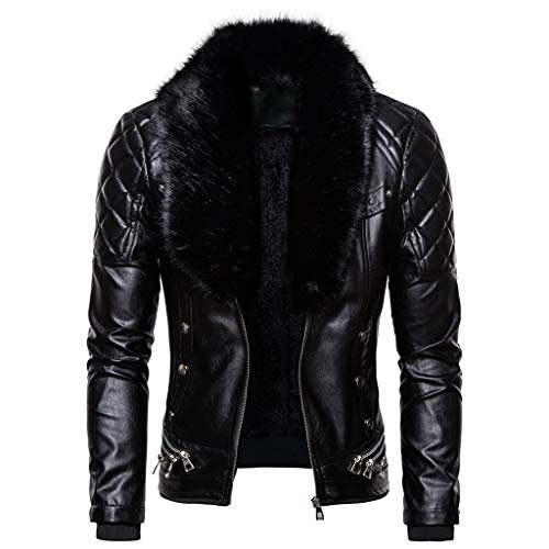 SGYH Mens Vintage Steam Punk Zipper Faux Fur Collar Warm Leather Jacket Slim fit Coat Outwear Overcoat (Black, L)