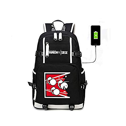 Anime Fan,Anime Gift,Cosplay Gifts,Rainbow Six Siege USB Charging Port Black Oxford Backpack DSFRF-54345 Free Keychain