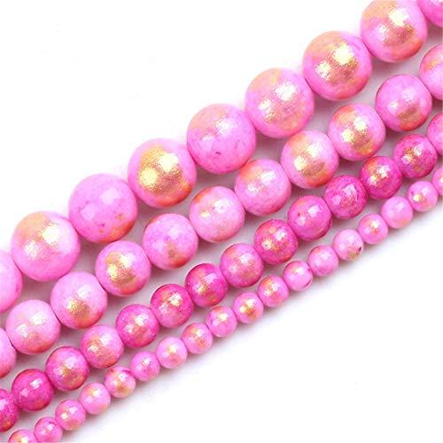 Cuentas De Piedra Natural De 4/6/8/10/12 mm Cuentas Redondas Chapadas En Oro Jades Sueltas para Hacer Joyas DIY Accesorios De Pulsera con Dijes De 15 Pulgadas Pink 10mm About 36pcs