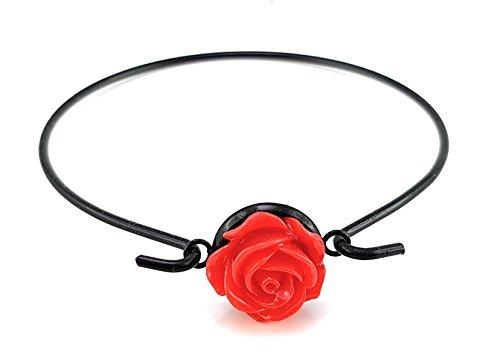 Stechschmuck Armband Armreif Schwarz Rose Hochzeit Damen Rockabilly Oldschool Rot 14mm Motiv Nickelfrei