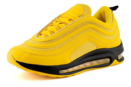 Fusskleidung Damen Herren Sportschuhe Sneaker Dämpfung Laufschuhe Neon Jogging Gym Unisex Gelb EU 38