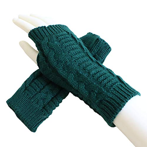 Valensha Women/Men Winter Knitted Gloves Stretchy Half Finger Twist Knitted Glove Riding Mitten Wrist Warmer Cold Weather Gloves Green