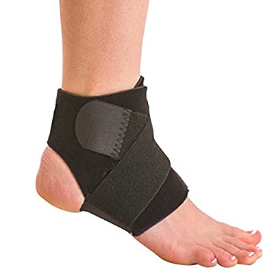 BraceAbility Neoprene Water-Resistant Ankle Brace   Compression Foot Wrap for Swimming, Running, Surfing, Diving, Exercise, Athletic Support & Protection, Sprains, Tendonitis and PTTD Pain (S/M)