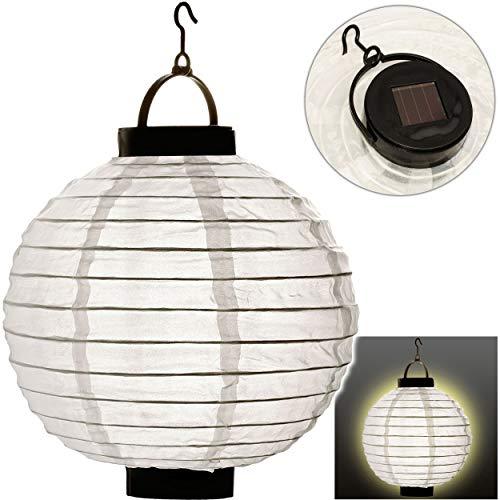 alles-meine.de GmbH 4 Stück _ SOLAR - LED Licht - Stoff Laternen / Lampions - weiß - wetterfest - AUßEN & INNEN - Solarbetrieben / Solarleuchte - kabellos - Stofflaterne Stoff La..