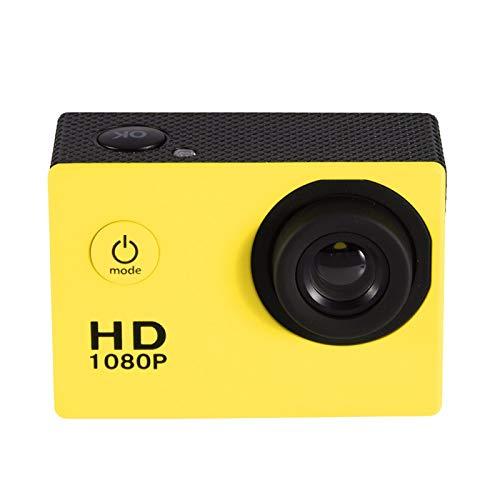 Mini DV Sports Camera, 1080P Full HD LCD Action Camera Impermeabile 30m Outdoor Sports Video DV Camera Mini videocamera con Accessori di Montaggio Kit(Giallo)