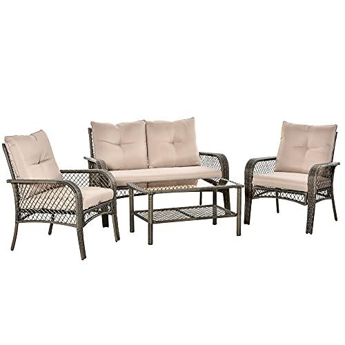 Outsunny 4-TLG. Gartensitzgruppe mit Beistelltisch Kissen Rattan Gartenset Polyrattan Metall Grau 136 x 79 x 88 cm