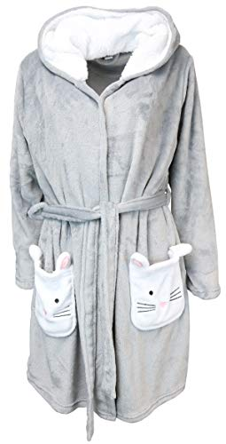 Pillow Talk Womens Super Plush Velour, Hooded Robe with Pockets (Large, Grey Kitty Cat)