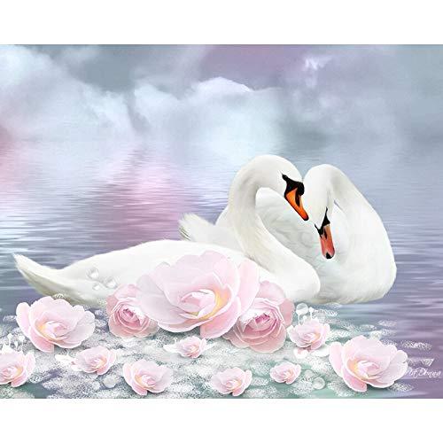 DIY 5D pintura de diamantes cisnes Animal Kit de punto de cruz taladro completo bordado mosaico imagen de diamantes de imitación decoración del hogar A9 30x40cm