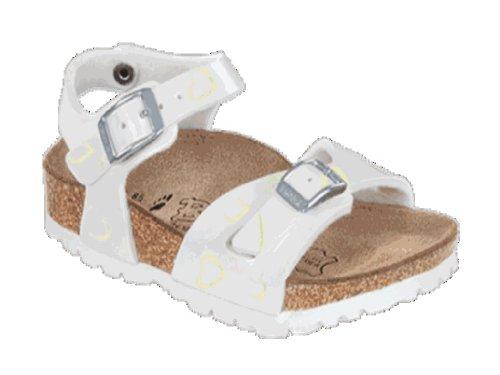 BIRKIS Tuvalu Sandalen BF, Glimmer Heart White, Größe 24 mit schmalem Fußbett