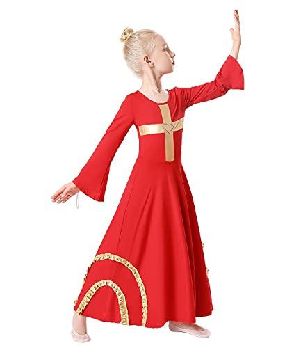 MYRISAM Girls Praise Cross Dance Robe Worship Dress Bell Sleeve...