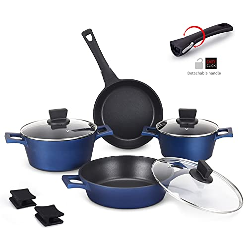 MGUOGUO Nonstick Pots and Pans 10 Piece Cookware Set Blue Stackable Induction Soup Pot with Lid, Removable Handle Skillet Pan, Suitable for All Stoves Dishwasher Safe (Blue)